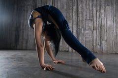 Flexibler weiblicher Akrobat der Junge extrem, der an Hand über grauem Hintergrund im Fotostudio steht lizenzfreie stockfotografie