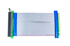 Flexibles PCI-E x16 PCI-E x16 zum Aufbruch-Kartenisolat auf Weiß Stockfoto