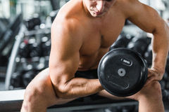 Flexing Arm Muscles in Strength Training Royalty Free Stock Photo