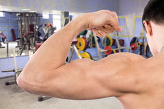 Flexing biceps in gym Stock Images