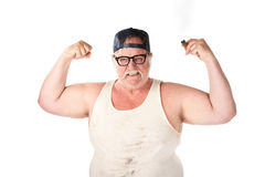 Flexing large man. In tee shirt on white background Royalty Free Stock Photography