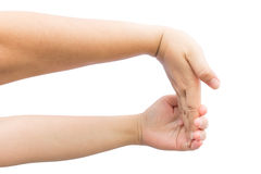 Flexing muscle on hand for heal office syndrome Stock Image
