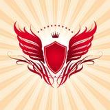 Flügel, Schild und Krone Stockfotos