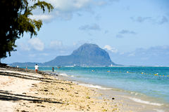Flic en Flac beach with le Morne mountain, Mauritius Royalty Free Stock Photography