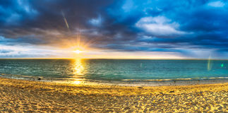 Flic en Flac beach at sunset. Panorama Stock Images