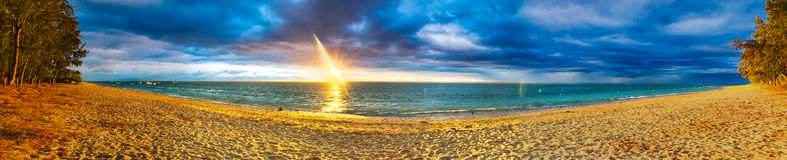 Flic en Flac beach at sunset. Panorama Royalty Free Stock Photography