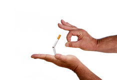 Flick, Kick, and Quit The Smoking Habit. Flick, kick, and quit the dirty and offensive smoking habit royalty free stock photos