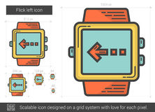 Flick left line icon. Flick left vector line icon  on white background. Flick left line icon for infographic, website or app. Scalable icon designed on a grid Royalty Free Stock Photos