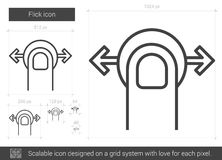 Flick line icon. Flick vector line icon isolated on white background. Flick line icon for infographic, website or app. Scalable icon designed on a grid system Royalty Free Stock Photos