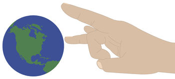 Flick the world. A hand ready to flick the world or globe Royalty Free Stock Photos