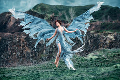 Flickaängel med härliga vingar royaltyfri fotografi
