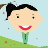 Flicka-älskvärd-Leende-skönhet-tecknad film Arkivfoto