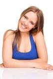 flicka över posera white Fotografering för Bildbyråer