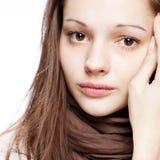 flicka över tonårs- white Arkivfoton