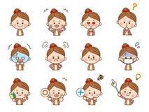 Flicka ansikts- expression3 royaltyfri illustrationer