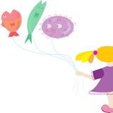 Flicka ballonger Vektor Illustrationer