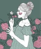 flicka bland jordgubbar vektor illustrationer