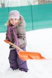 flicka en snö Fotografering för Bildbyråer