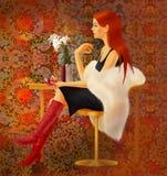 Flicka ett rött vin Royaltyfri Fotografi