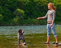flicka för 3 hund Arkivfoton