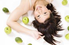 flicka för 5 frukt royaltyfri foto