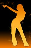 flicka för ai-diskomapp som pekar stjärnan Arkivbilder