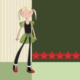 Flicka för barnklistermärkegyckel Arkivbild