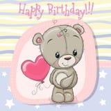 Flicka för björn för nalle för hälsningkort med ballongen stock illustrationer