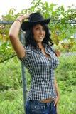 Flicka för cowboyhatt Royaltyfri Fotografi