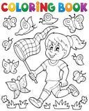 Flicka för färgläggningbok som jagar fjärilar Arkivfoto