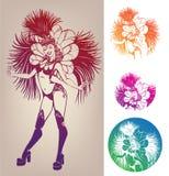 Flicka för färgpulverlineworkdans i karnevalfjäderkostnad Arkivbild