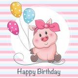 Flicka för gullig tecknad film för hälsningkort piggy med ballons stock illustrationer
