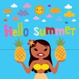 Flicka för Hello sommarhula Royaltyfria Bilder