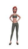 flicka för idrottshall som 3d gör övning Royaltyfri Foto