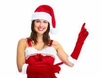 Flicka för jultomtenhjälpredajul. Arkivbild