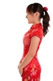 Flicka för kines för sidosikt arkivfoto