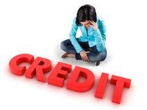 Flicka för kreditering arkivbild