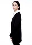 Flicka för mode för kontor för affärskvinna i svart dräkt royaltyfria foton