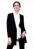 Flicka för mode för kontor för affärskvinna i svart dräkt royaltyfria bilder