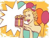 Flicka för popkonst med tankebubblan Etikett för tetidtappning kanin för födelsedagkortgåva Hollywood filmstjärna Komisk kvinna s stock illustrationer