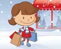 Flicka för shopping för vinterdag stock illustrationer