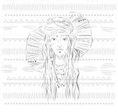 Flicka för Sketh sommarboho vektor illustrationer