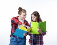 Flicka för skolacolledgetonåringar med stationära bokanteckningsböcker arkivbild