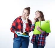 Flicka för skolacolledgetonåringar med stationära bokanteckningsböcker arkivfoto