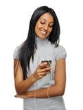Flicka för spelare MP3 Arkivbild