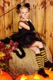 Flicka för svart katt Royaltyfria Bilder