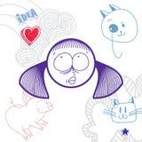 Flicka för tecknad film för vektor hand dragen drömlik med modern frisyr Educa stock illustrationer