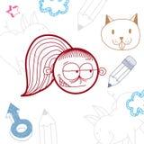 Flicka för tecknad film för vektor hand dragen knepig med modern frisyr Educa stock illustrationer