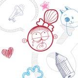 Flicka för tecknad film för vektor hand dragen ledsen skriande med modern frisyr vektor illustrationer