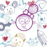Flicka för tecknad film för vektor hand dragen lycklig le med modern frisyr royaltyfri illustrationer